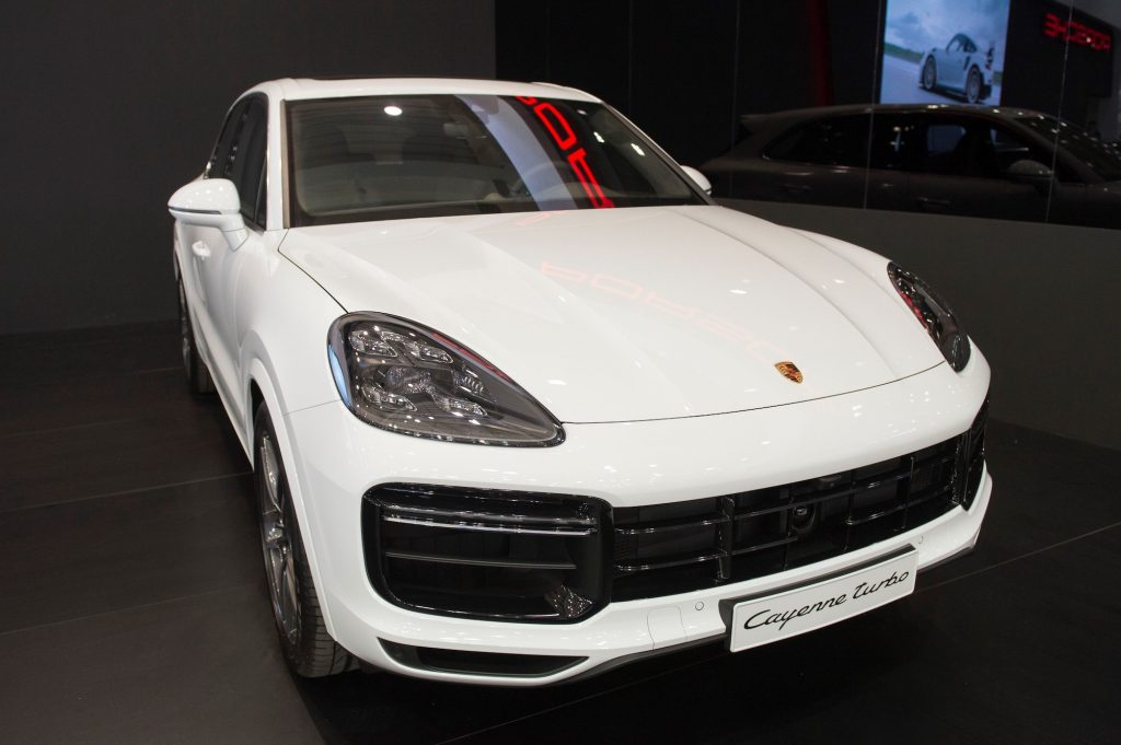 A Porsche Cayenne Turbo is displayed during the Poznan Motor Show at the International Poznan Trades Center