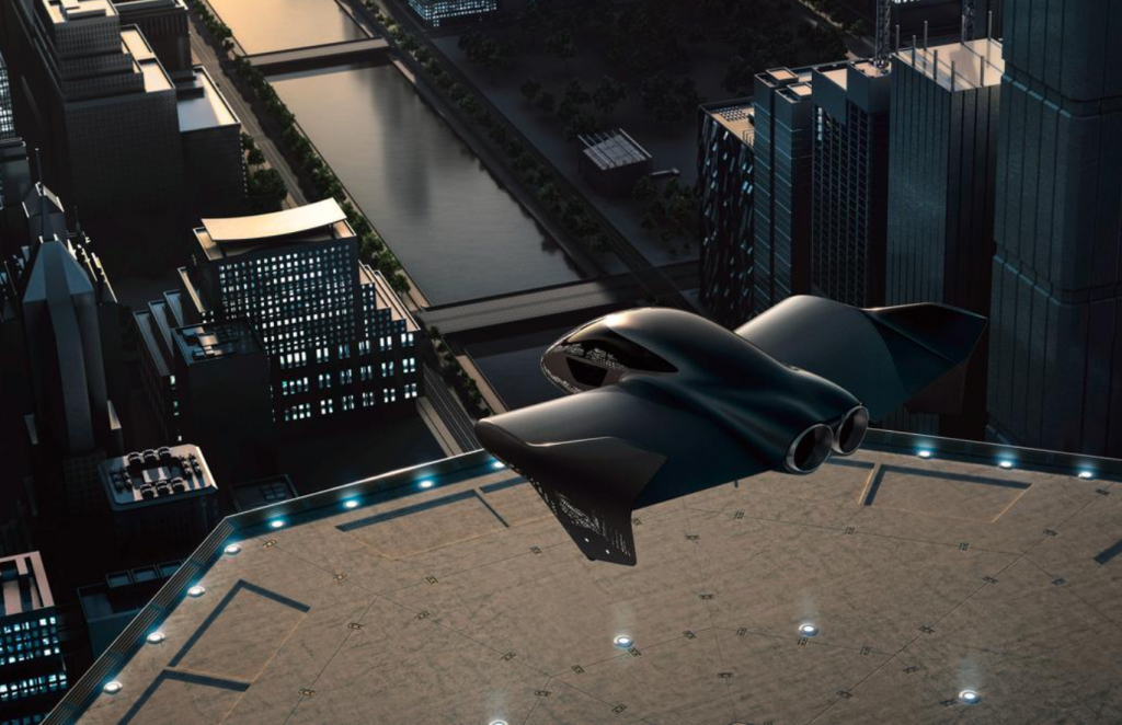 flying car over city looks current but also futuristic