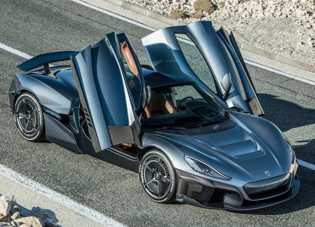 Silver Rimac C_two with butterfly doors open