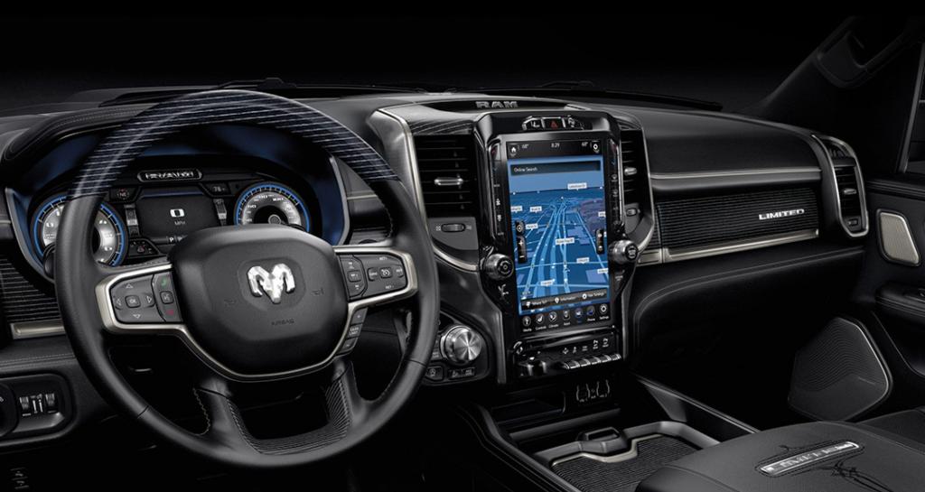 "Ram 1500 Interior with 12"" touchscreen infotainment center"