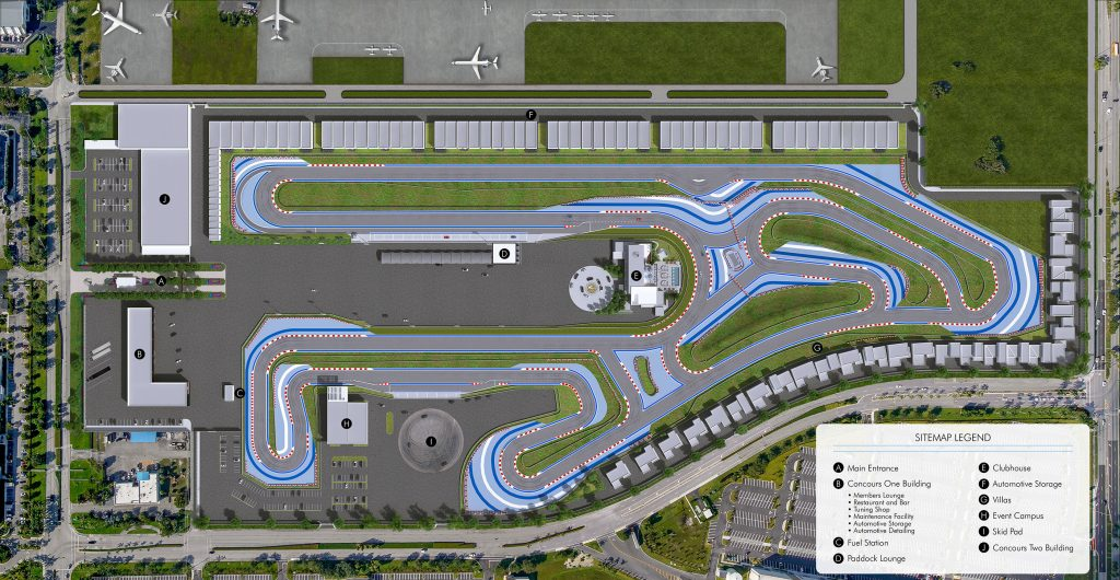 The site plan for the track at The Concourse Club in Miami