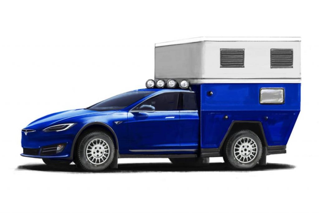 Tesla Model S Camper Rendering