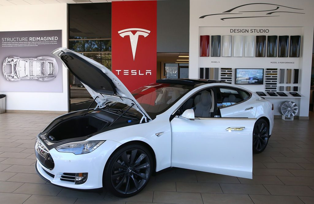 A Tesla Model S on display in a showroom