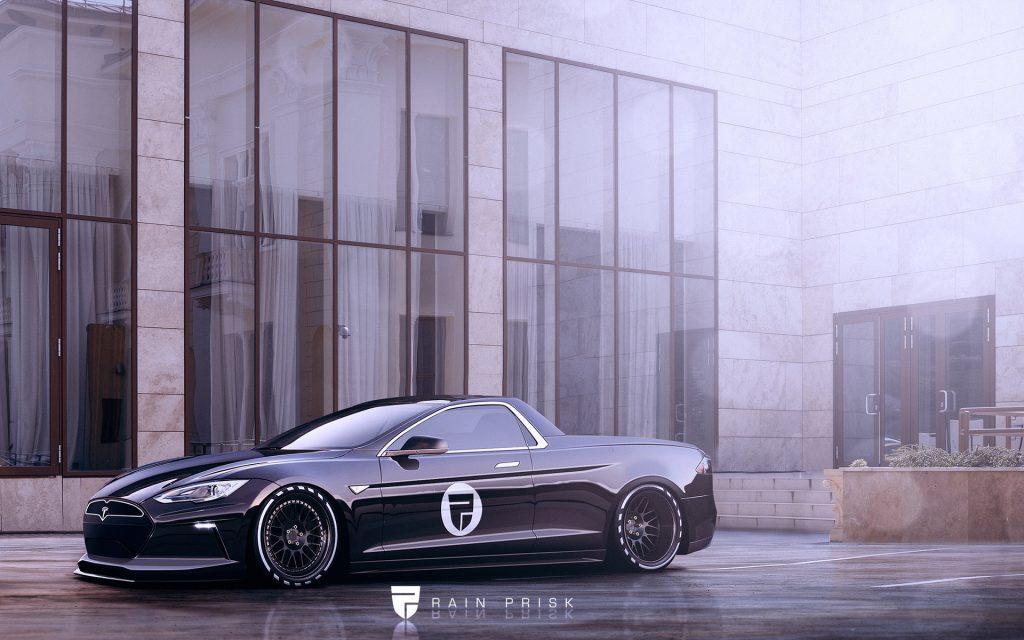 A Tesla Model S ute rendering show