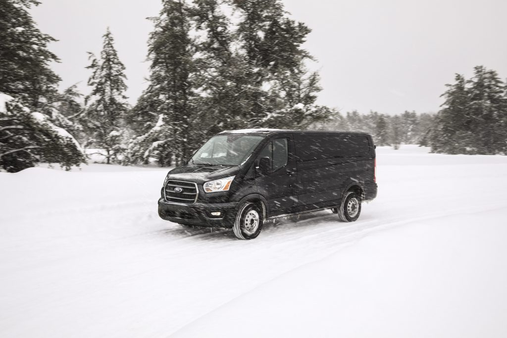 The AWD drive option allows this full-size cargo van to drive through snow