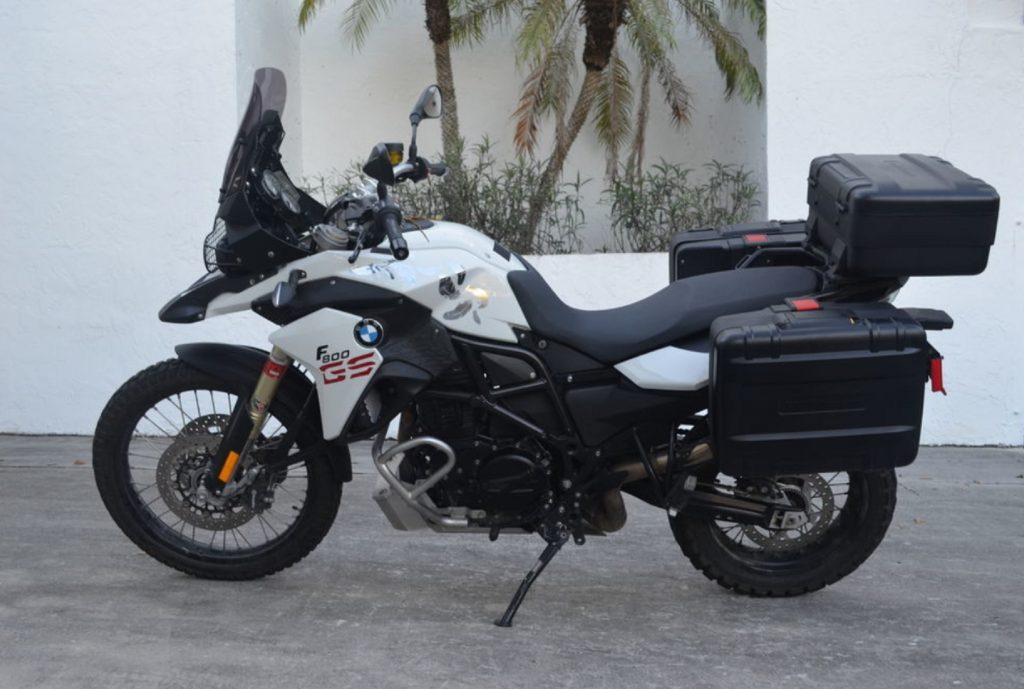 Used 2013 BMW F 800 GS motorcycle with saddle bags
