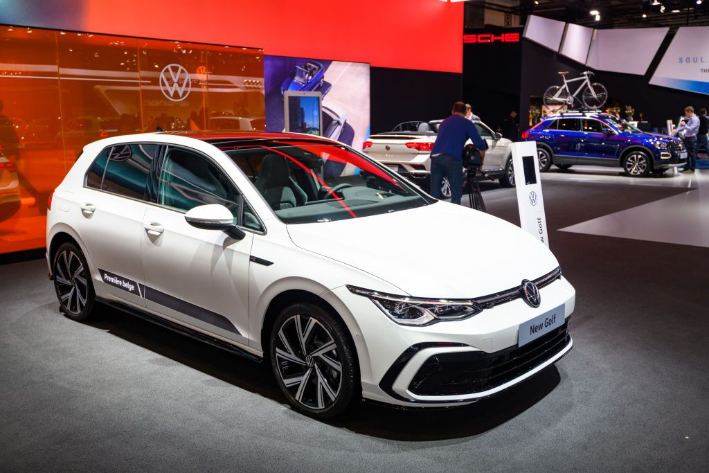 Volkswagen Golf Hatchback on display at auto show