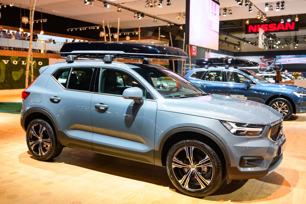Volvo XC40 crossover SUV car on display at Brussels Expo