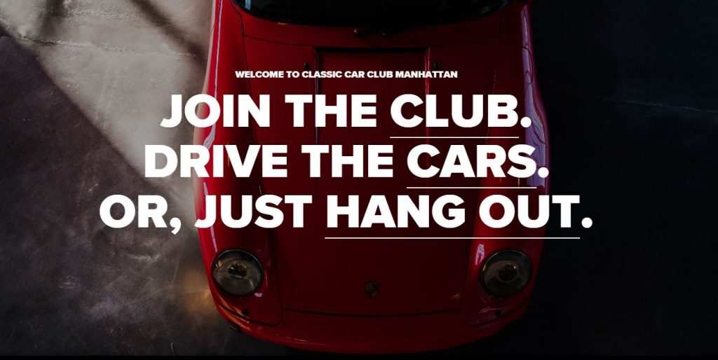 The Welcome website page for the Classic Car Club shows a red Porsche from overhead