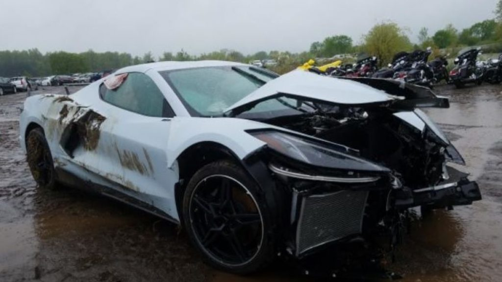2020 Corvette with extensive front end damage