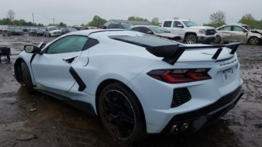 totaled 2020 Corvette with extensive collision damage