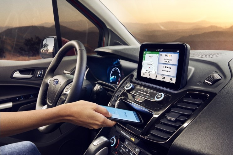 infotainment and dash display on the modern 2020 transit connect passenger wagon