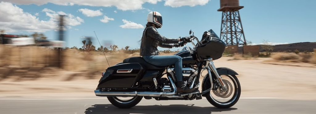the Harley-Davidson road glide touring motorcycle on a road trip