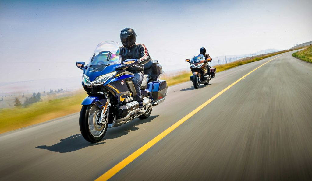 a pair of riders mounted on 2020 Honda Gold Wing touring bikes