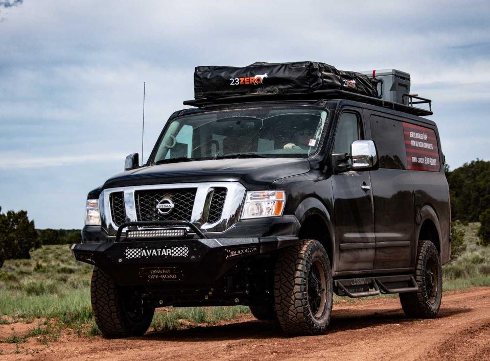 An overlanding conversion of a black Nissan NV 3500 van | TFLTruck
