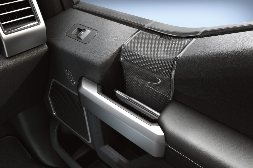 carbon fiber trim that comes along with the Recaro package for the Ford F-150 Raptor off-road pickup truck