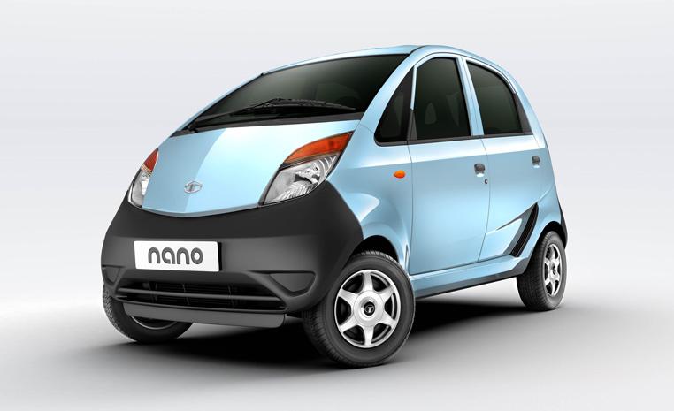 a Tata Nano press photo against a light backdrop