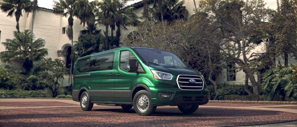 Ford transit like this green passenger van come with both diesel and gasoline engine options