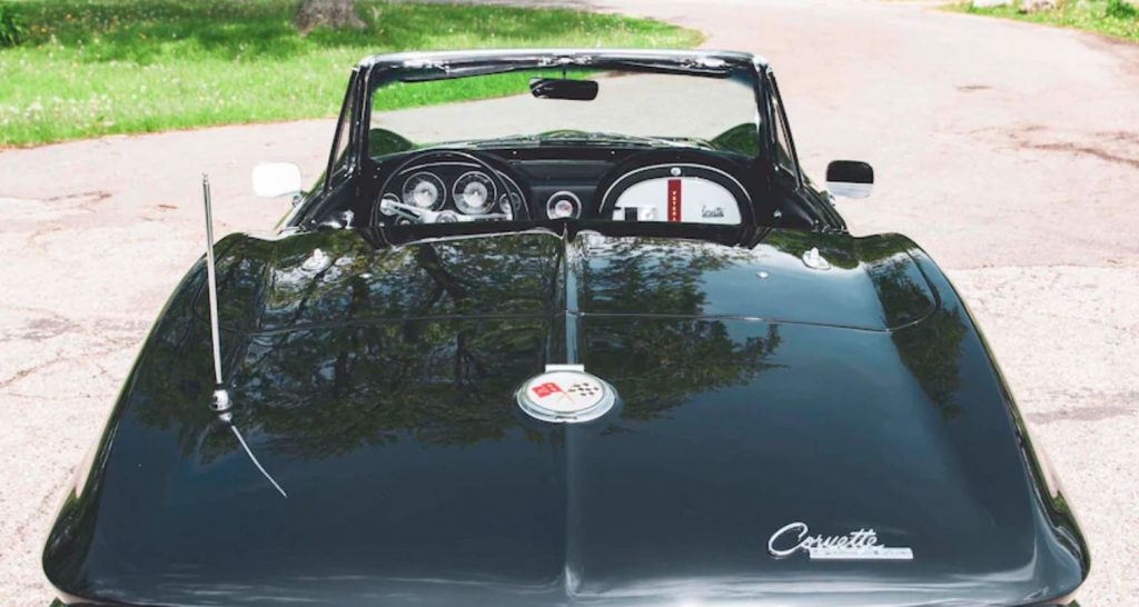 The top is off in this view from the rear of the 1963 Corvette.