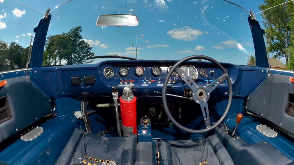 A look at the blue interior, right hand drive, of the 1965 Ford GT Roadster.