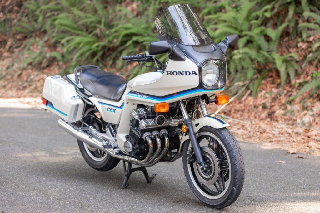A white-with-blue-striped-fairing 1982 Honda CBX 1000 Super Sport