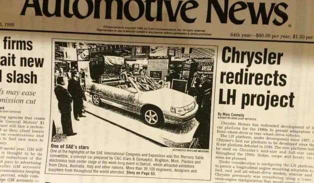 silver 1 of 1 Mercury Sable convertible concept car newspaper clipping