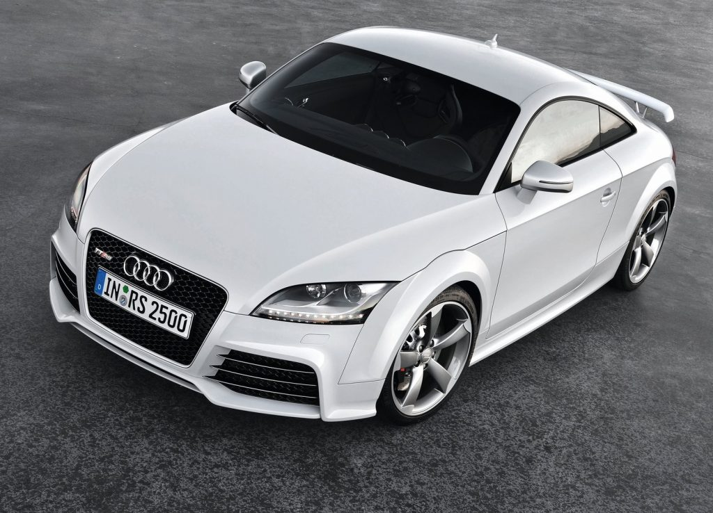 A white 2010 Audi TT RS Coupe