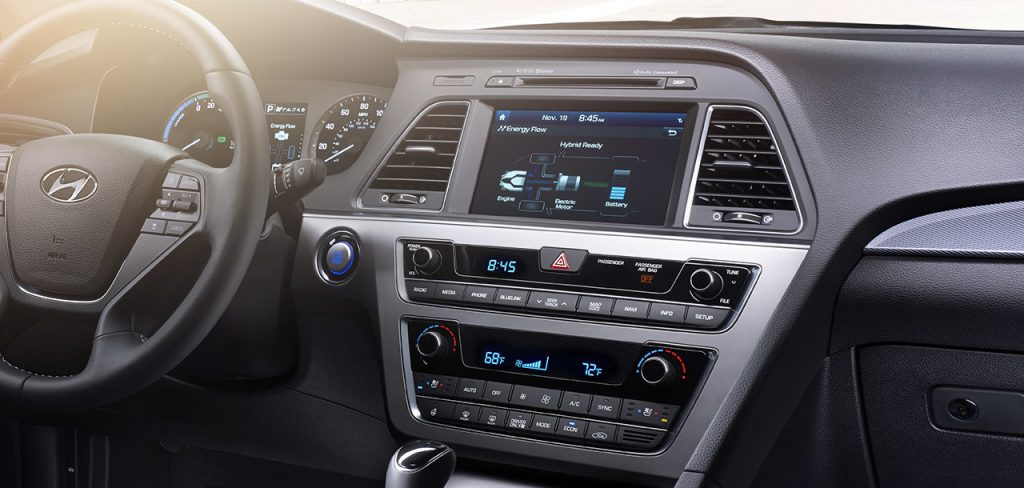 The Hyundai Sonata has a handsome, upscale interior complete with many tech features.