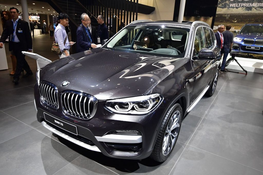 A BMW X3 car is presented at the Frankfurt Auto Show IAA in Frankfurt am Main, Germany