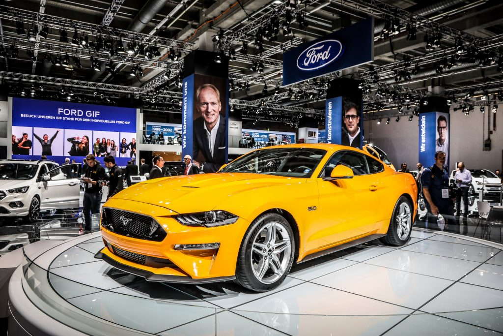 The Ford Mustang on display at the 2017 Frankfurt Auto Show