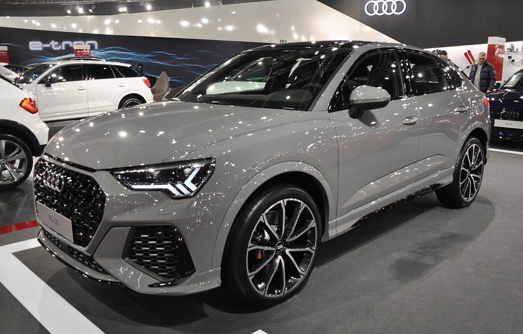 A gray Audi Q3 luxury SUV on display