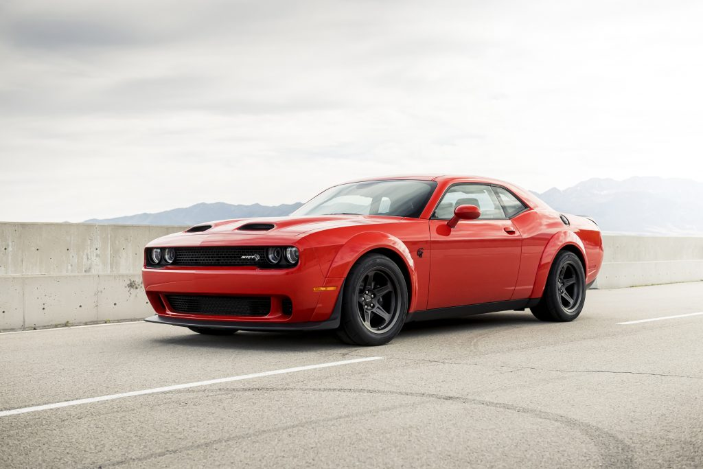 Red 2020 Dodge Challenger SRT Super Stock on the concrete highway