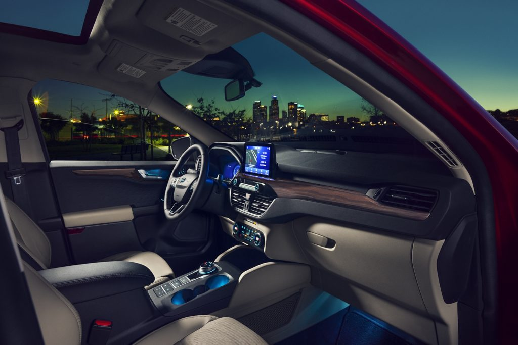 The 2020 Ford Escape Titanium trim with ambient lighting.