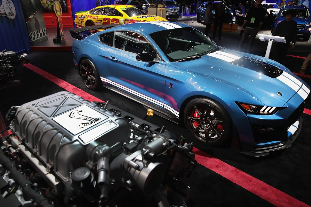 A 2020 Ford Shelby Mustang on display at an auto show
