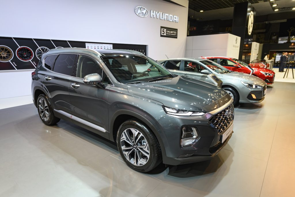 The 2020 Santa Fe SUV, a competitor of the 2020 Kia Sorento, on display at Brussels Expo