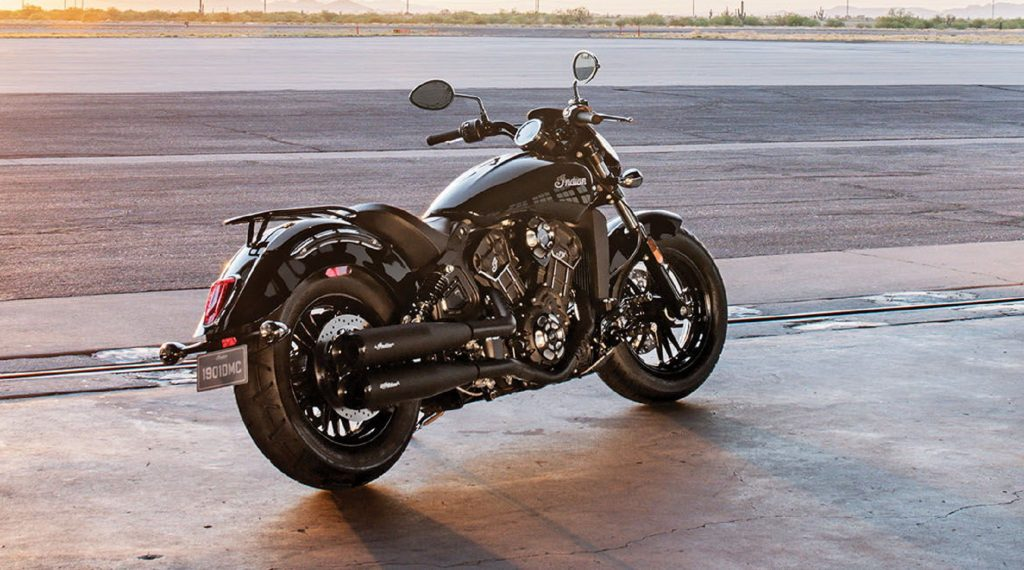 A black-tanked 2020 Indian Scout Sixty
