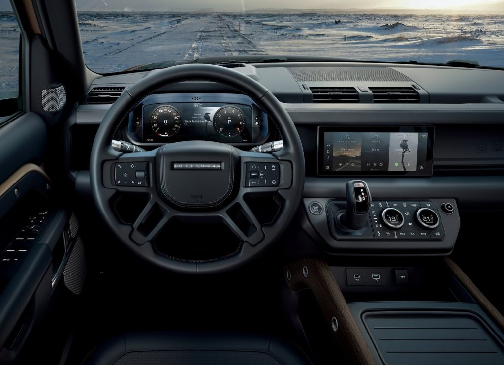 An interior shot of the 2020 Land Rover Defender 110