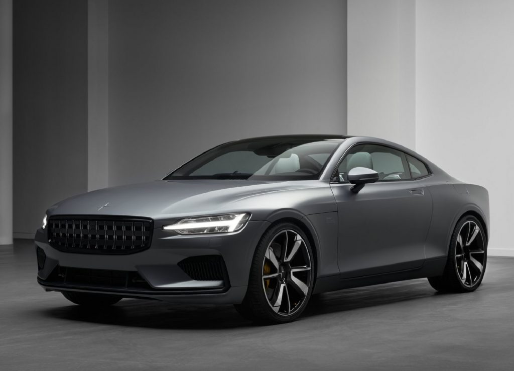 A gray 2020 Polestar 1 coupe