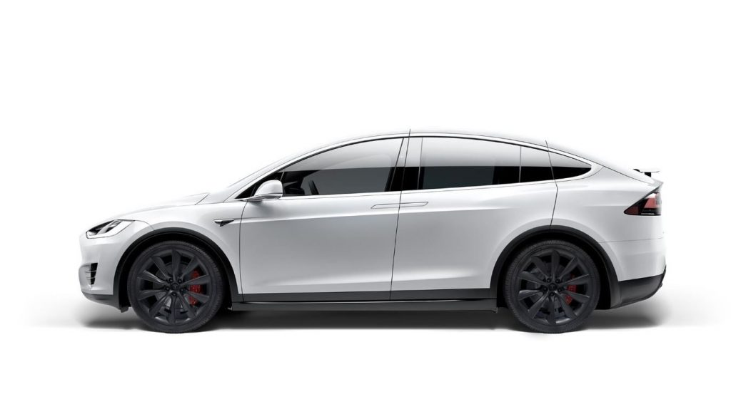 A white Tesla Model X electric SUV