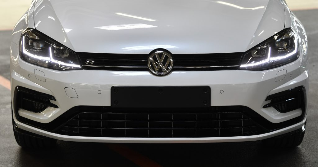 The front end of a white 2020 Golf R from Volkswagen