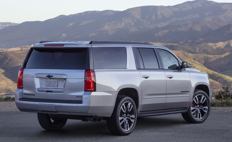 rear angle of a 2020 Chevrolet Suburban V8 SUV against a mountainous landscape