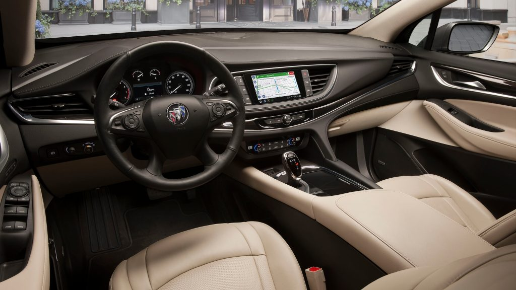 The 2020's standard beige-colored cloth interior.