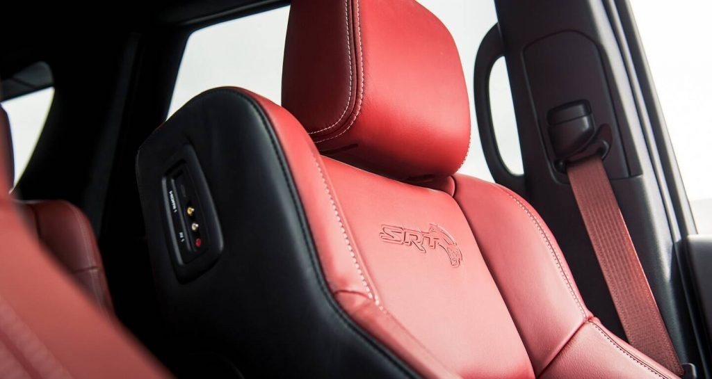 The performance seats of the 2021 Hellcat Durango with Laguna Leather in Demonic Red..