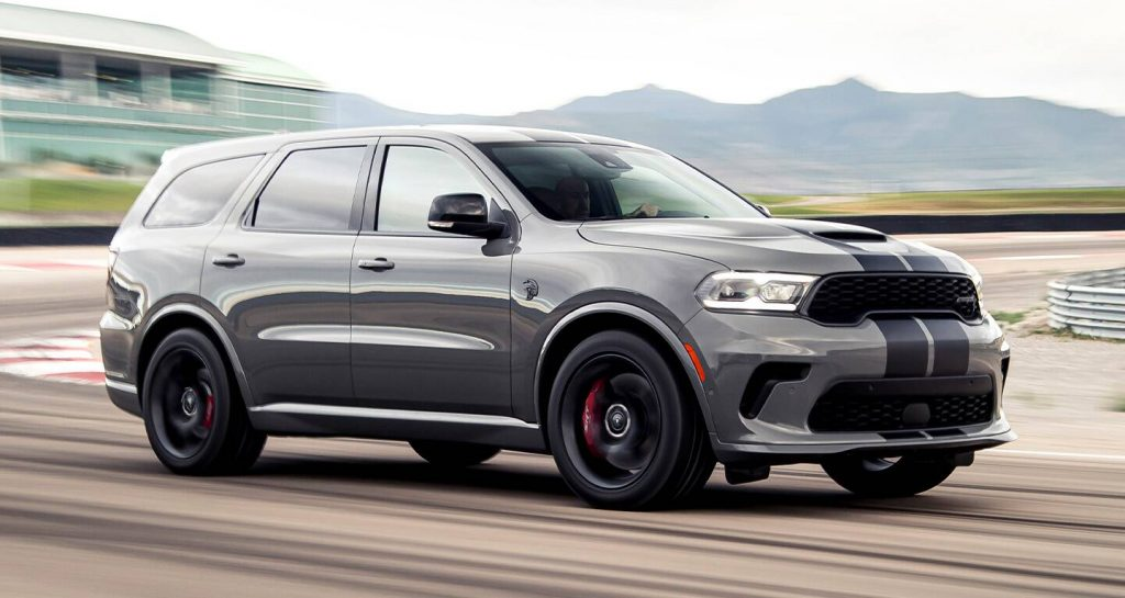 A gray 2021 Dodge Durango SRT Hellcat on a track