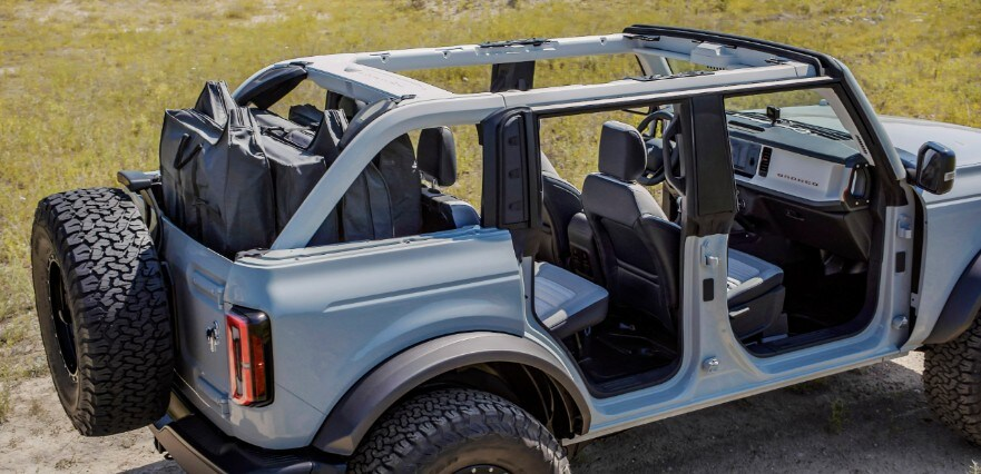 four-door Bronco with roo panels and doors removed