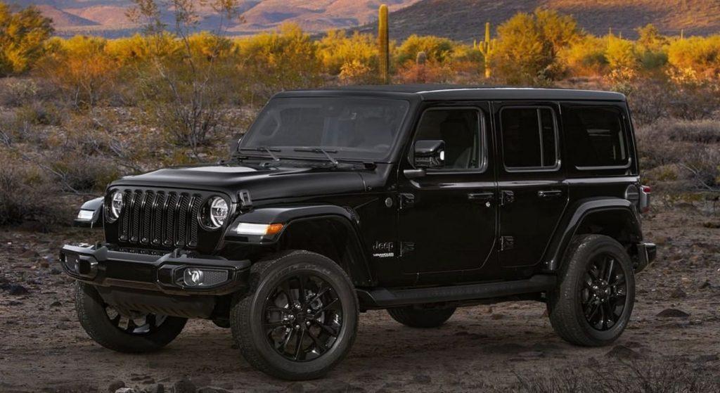 Black 2021 Jeep Wrangler in the desert