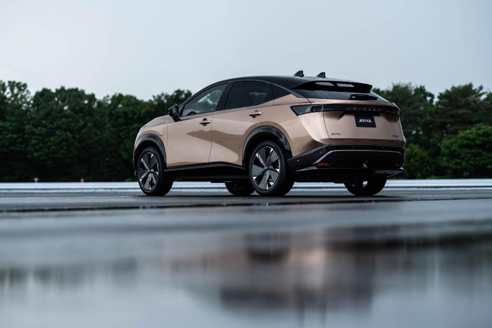 Nissan displays new design concept with the Nissan Ariya electric crossover.