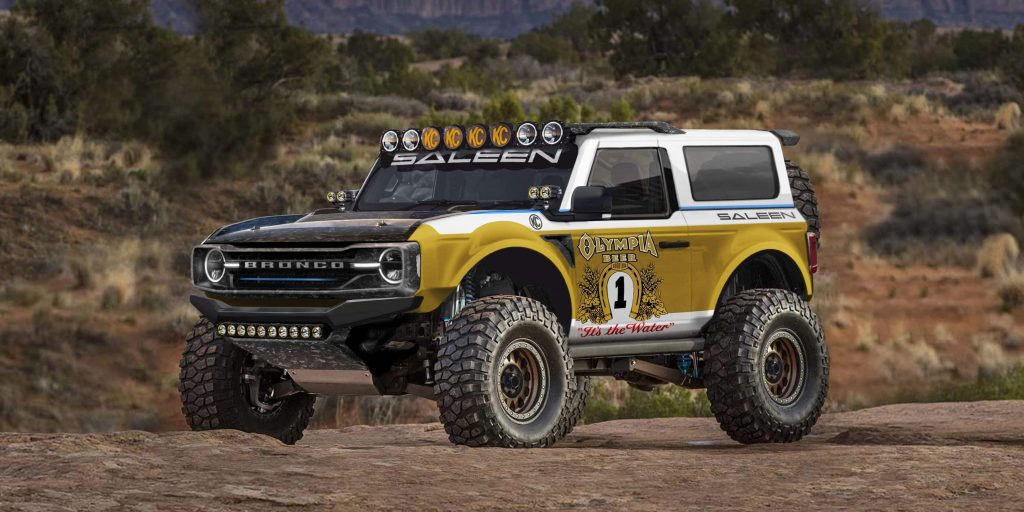 A gold and white 2021 Bronco looks race prepared.