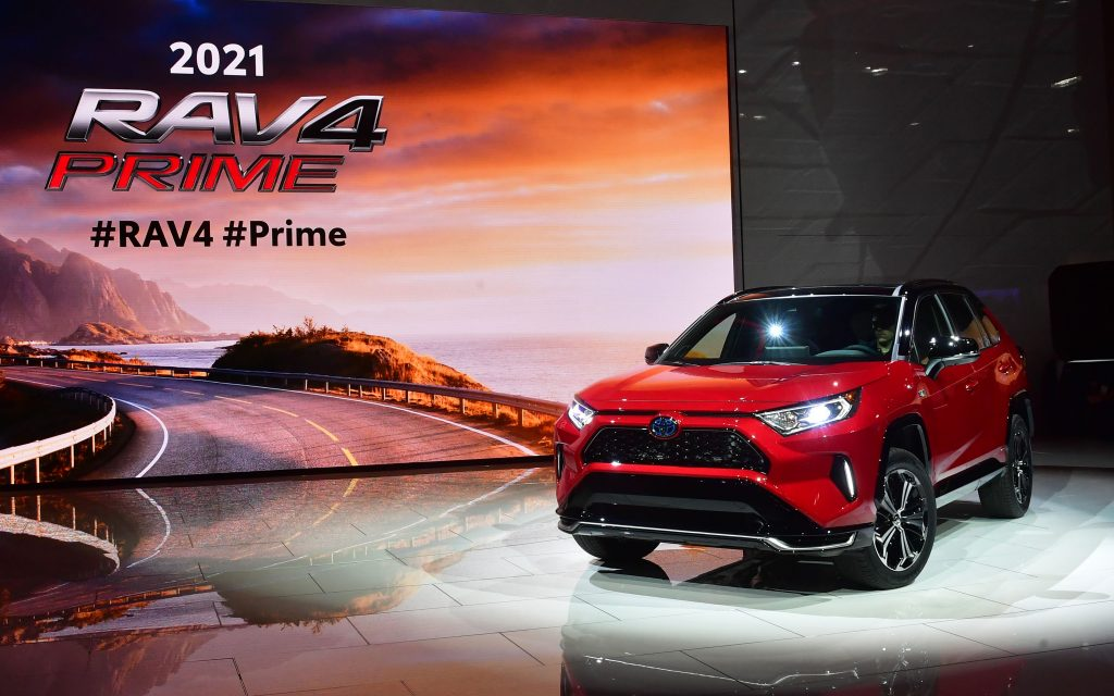 The 2021 Toyota RAV4 Prime on display at an auto show