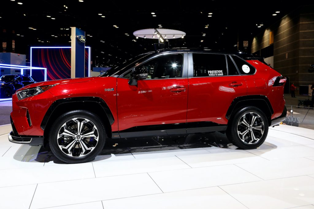 A red 2021 RAV4 Prime on display at the 112th Annual Chicago Auto Show